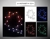 "Molecule letter ""Q"" Trendy alphabet fonts of sparkling brilliant."
