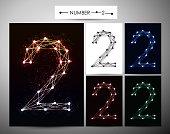 "Molecule Number  ""2"" Trendy alphabet fonts of sparkling brilliants."