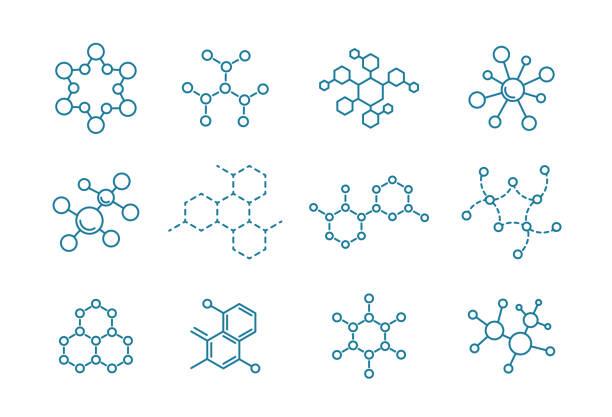 Molecule of the formula. Molecule of the formula. Set of scientific icons. Outline contour line. molecule stock illustrations
