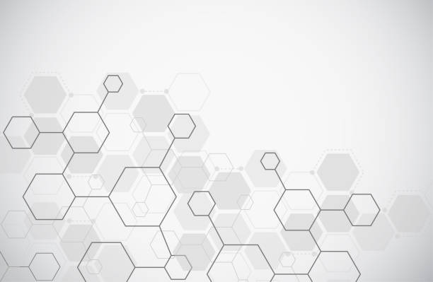 Molecule structure abstract tech background. Medical design. Science template, wallpaper or banner. Vector illustration Molecule structure abstract tech background. Medical design. Science template, wallpaper or banner. Vector illustration hexagon stock illustrations