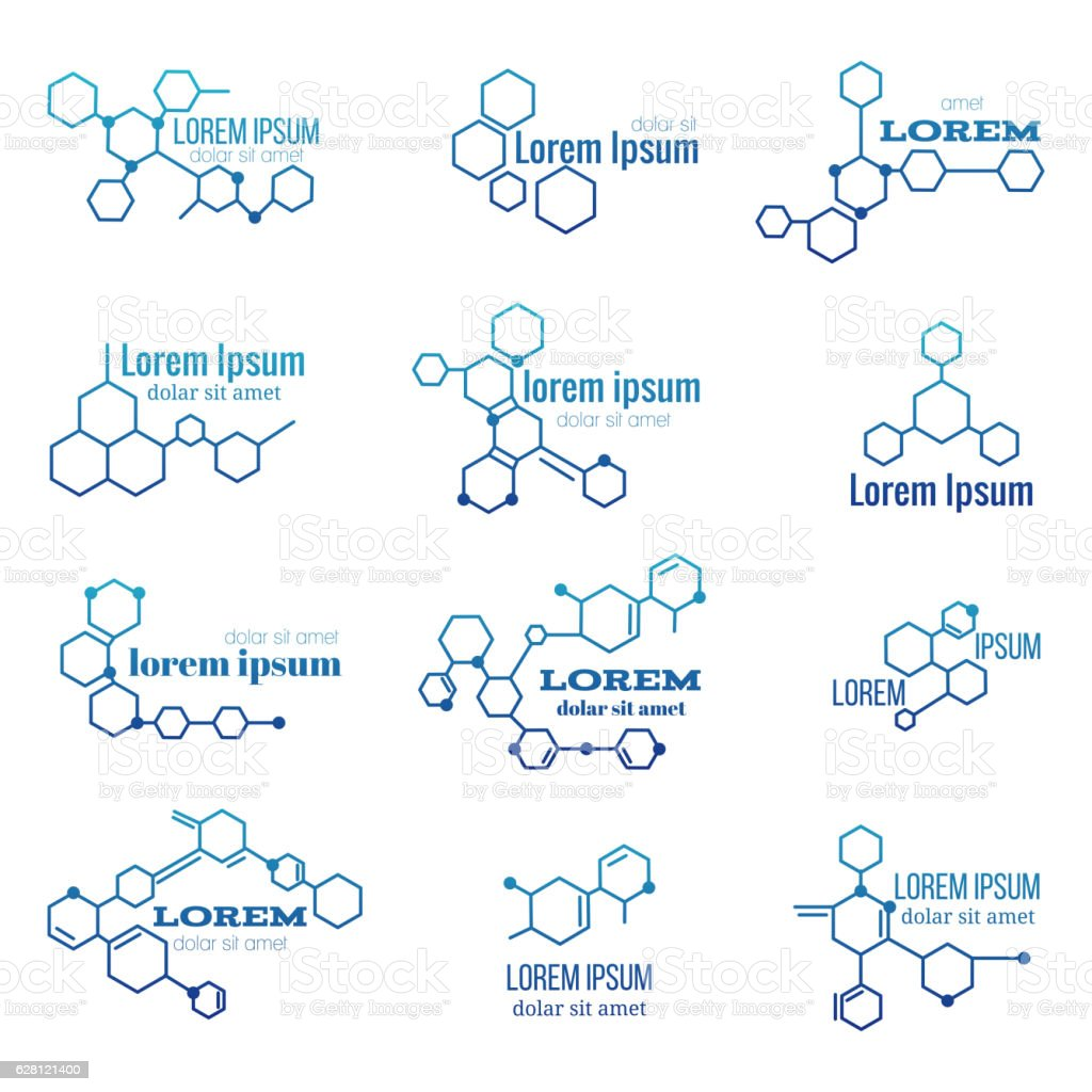 Molecule structure logo or biology model sign vector set royalty-free molecule structure logo or biology model sign vector set stock illustration - download image now