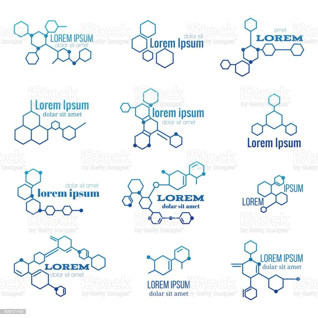 Molecule structure logo or biology model sign vector set vector art illustration