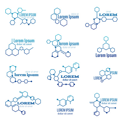 Molecule Structure Logo Or Biology Model Sign Vector Set Stock Illustration - Download Image Now