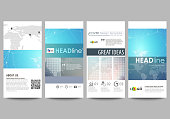 Molecule structure. Science, technology concept. Polygonal design. The minimalistic abstract vector illustration of editable layout of four modern vertical banners, flyers design business templates