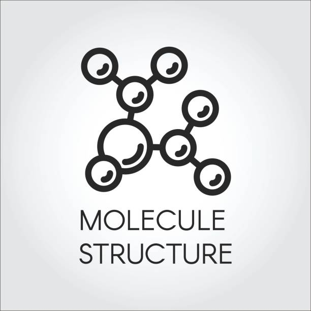 Molecule stucture linear icon. Label of chemical compound for scientific, educational and other projects Molecule stucture linear icon. Label of chemical compound. Vector illustration for scientific, educational and other projects amino acid stock illustrations