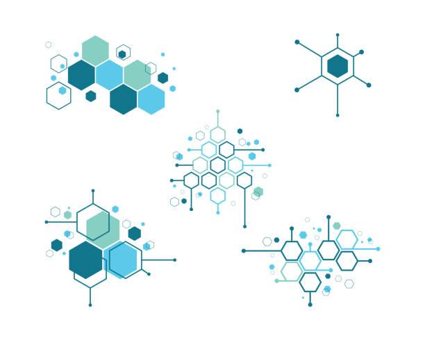 ilustraciones, imágenes clip art, dibujos animados e iconos de stock de ilustración de vector de símbolo de la molécula - química