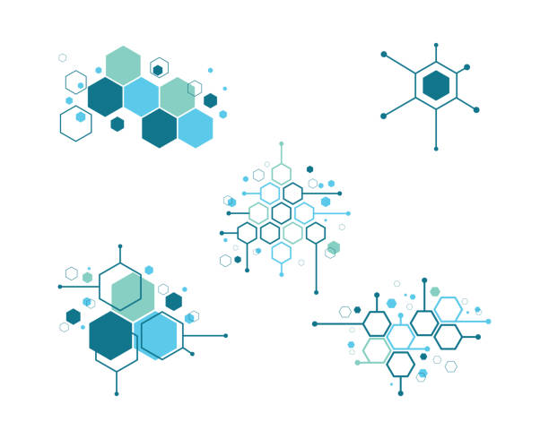 molecule symbol vector illustration - bio tech stock illustrations, clip art, cartoons, & icons