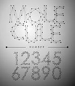 Molecule Trendy alphabet fonts Number.