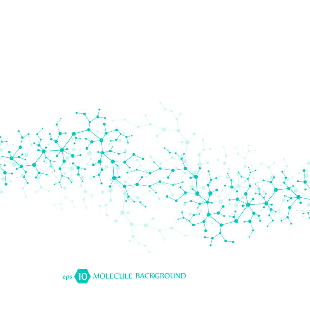 Molecules concept of neurons and nervous system. Scientific medical research. Molecular structure with particles. Science and technology background for banner or flyer. Eps 10 vector illustration. vector art illustration