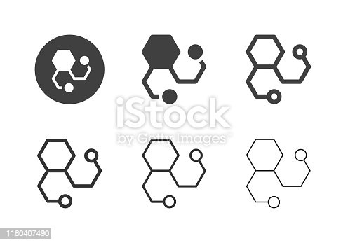 Molecules Icons Multi Series Vector EPS File.