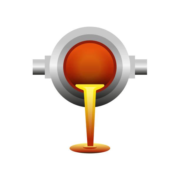 geschmolzenes metall gegossen aus pfanne - metallverarbeitung stock-grafiken, -clipart, -cartoons und -symbole