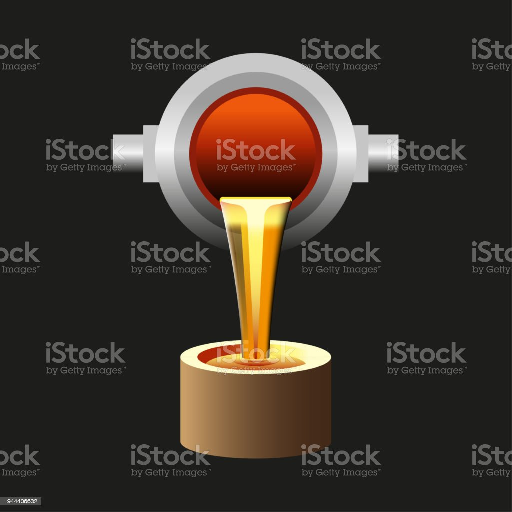 Molten metal poured from ladle vector art illustration