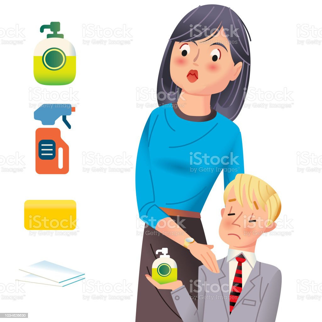 Mom affraid of germs vector art illustration