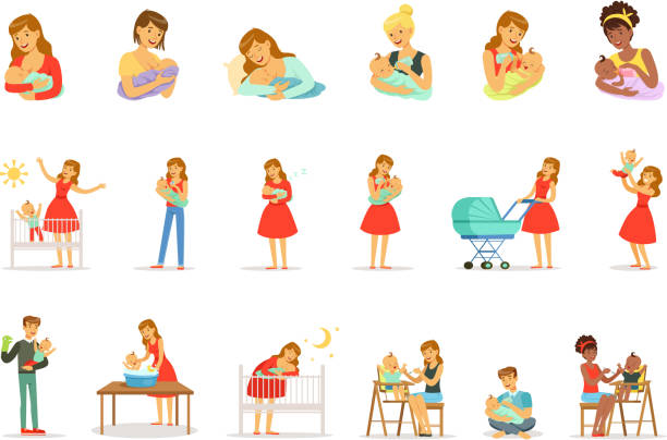 ilustrações de stock, clip art, desenhos animados e ícones de mom and ad take care of their children set for label design. colorful cartoon characters - breastfeeding