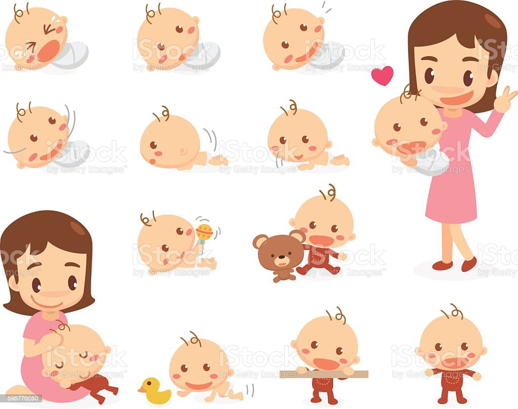 Mom and baby. Baby development stages vector art illustration