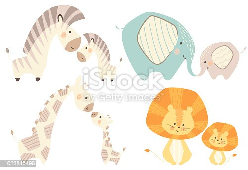 Mom and baby lion giraffe, zebra, elephant baby cute print set. Sweet zoo animal. Mother and child fashion child vector. Cool african safari illustration for nursery t-shirt, kids apparel, invitation