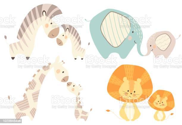 Mom and baby lion giraffe zebra elephant baby cute print set vector id1023845496?b=1&k=6&m=1023845496&s=612x612&h=po2iujs0vvyadme4td1jpr6781ngkzoaabfzwdy4xgg=