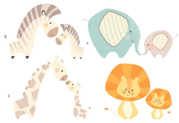 ilustrações, clipart, desenhos animados e ícones de mãe e bebê girafa leão, zebra, elefante bebê bonito conjunto de impressão - baby