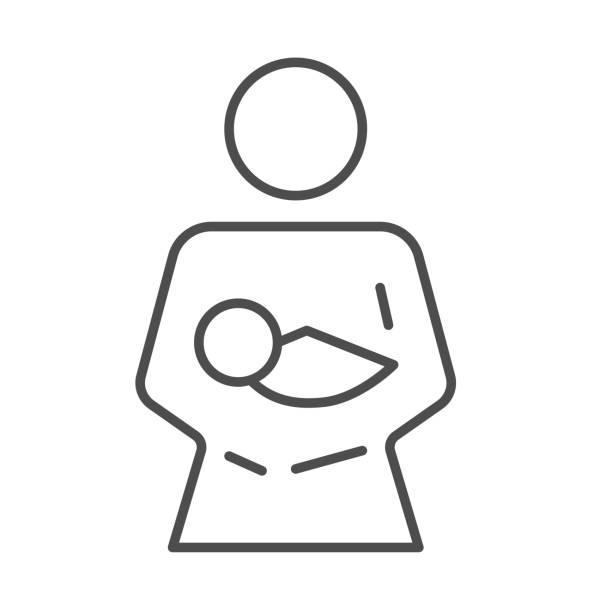 ママと赤ちゃんの細い線のアイコン、マタニティコンセプト、白い背景に彼女の腕ベクトルサインで赤ちゃんを保持している母、モバイルコンセプトとウェブデザインのためのアウトライン� - シングルマザー点のイラスト素材/クリップアート素材/マンガ素材/アイコン素材