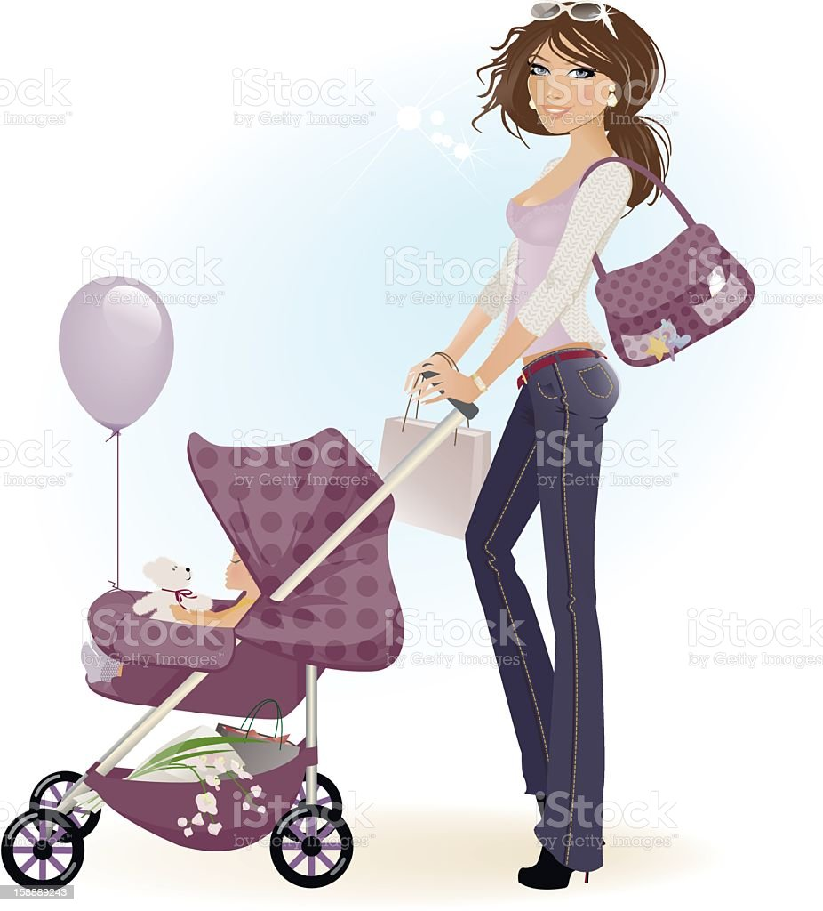 Mom and Baby Happy mom and baby walking home with shopping a new teddy and a balloon. Baby - Human Age stock vector
