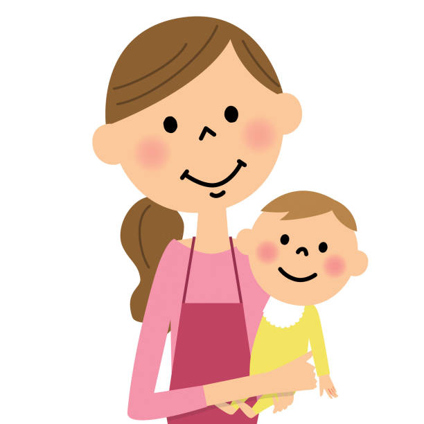Mom and baby vector art illustration
