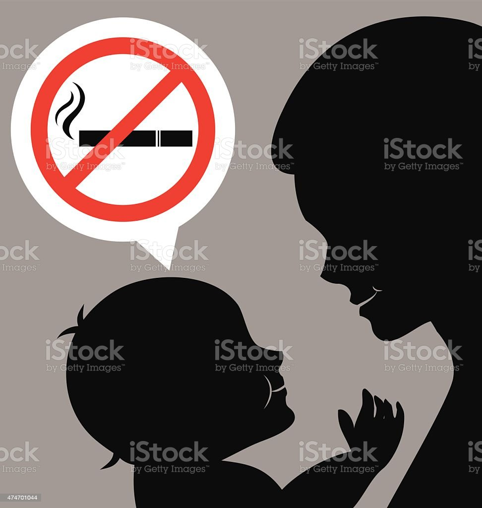 Maman Et B B Avec Panneau Interdit De Fumer Cliparts Vectoriels