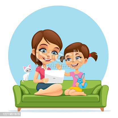 istock Mom and child look at a laptop 1221951975