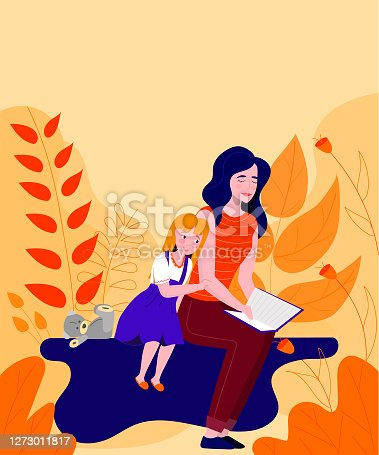 Mom and daughter are reading a book. Vector illustration. Background with large leaves and plants.
