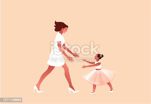 Mom and daughter. Mother day, ballet class