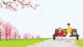 Mom and daughter picnic among the cherry trees -EPS10