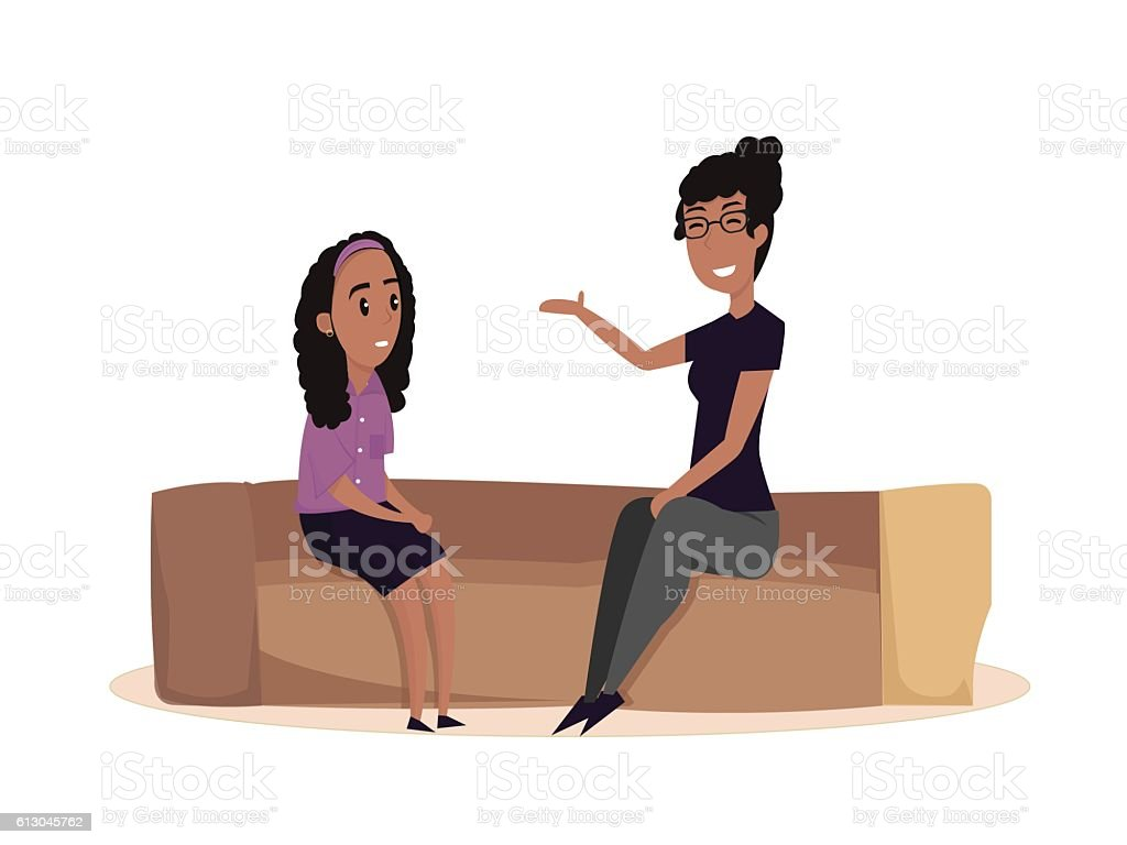 Mom and daughter. Vector flat illustration vector art illustration