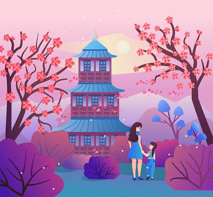 Mom and daughter walking in the spring park. Beautiful Japanese landscape with cherry blossoms, mountains, pagoda. Vector illustration with sakura blossoms in a flat style. Asian Temple, Mountains