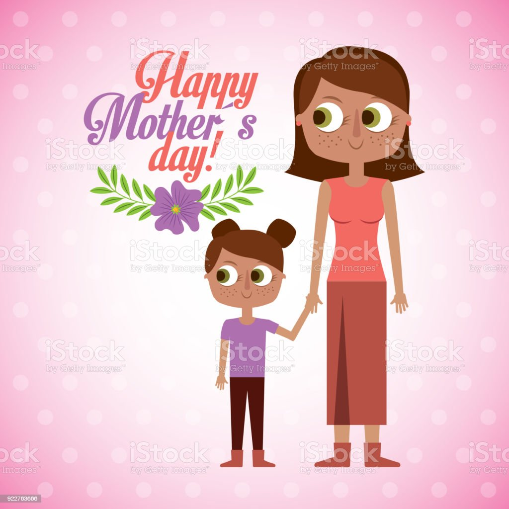 mom and daugther together happy mothers day vector art illustration