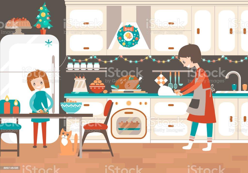 Traitent la mère et la fille cuisiner ensemble dans la cuisine de Noël - Illustration vectorielle