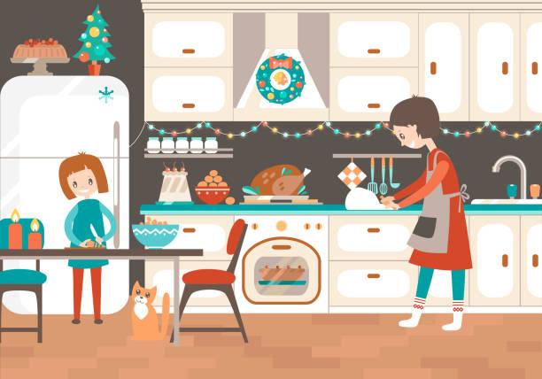 illustrazioni stock, clip art, cartoni animati e icone di tendenza di mamma e dauhter cucinano insieme in cucina regalo di natale - christmas cooking