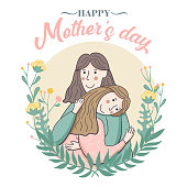 Mom hugs her child. Happy Mother`s Day Greeting Card with floral elements. Poster for the holiday of women's day on March 8
