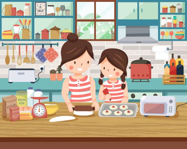 ilustrações de stock, clip art, desenhos animados e ícones de mom and her daughter making bakery together - cooker happy