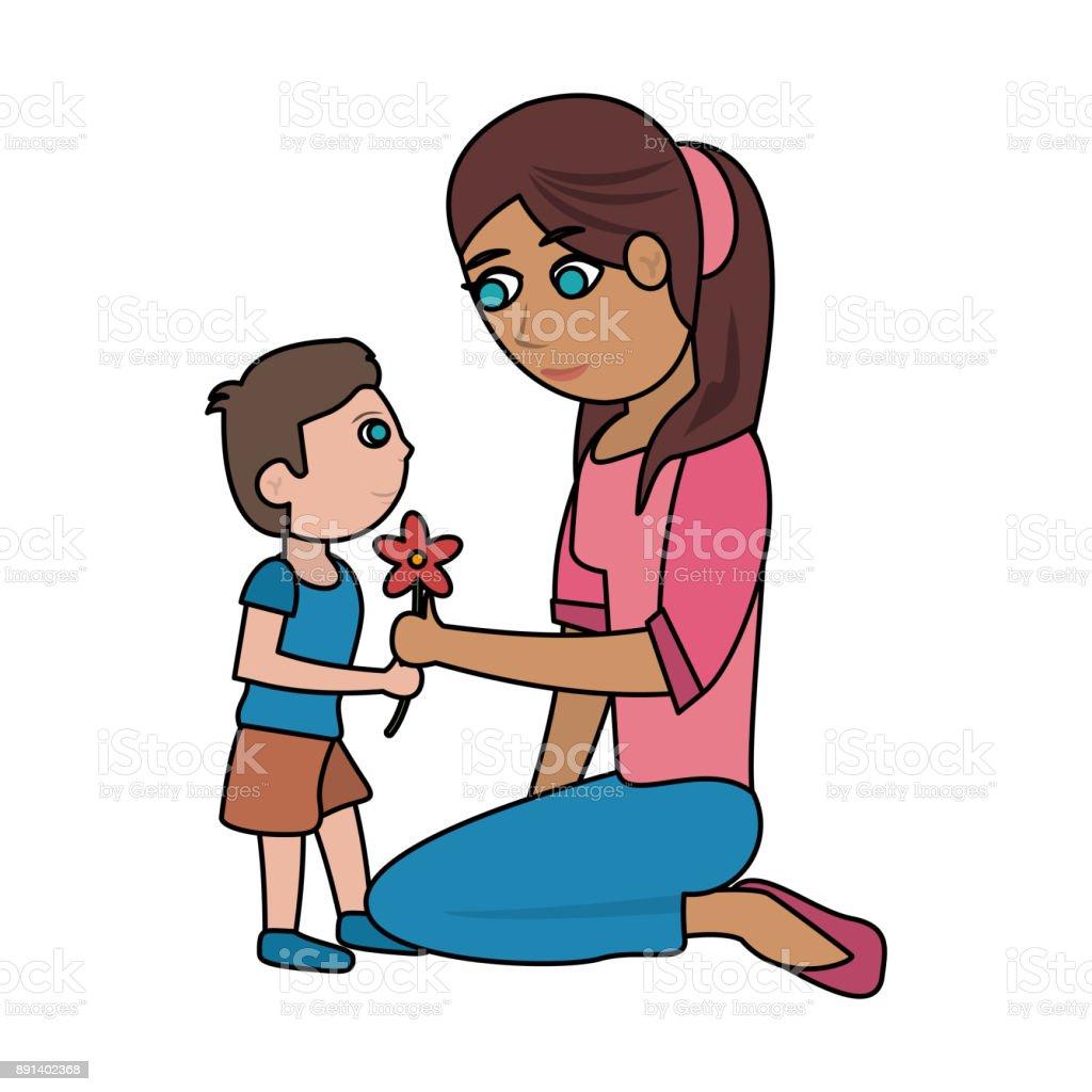 Mutter Und Kind Mit Blume Cartoon Stock Vektor Art und mehr Bilder ...
