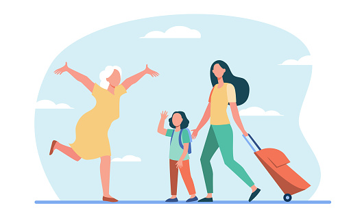 Mom and little daughter with luggage