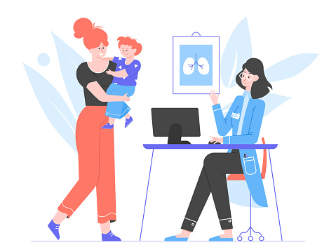 Mom and son at a doctor's appointment. Children's medicine, therapist. Medical clinic office. Helping a child with health. Vector flat illustration.
