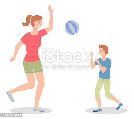 Mom and son play the ball. Beach volleyball. Family outdoor activity. Flat illustration on white
