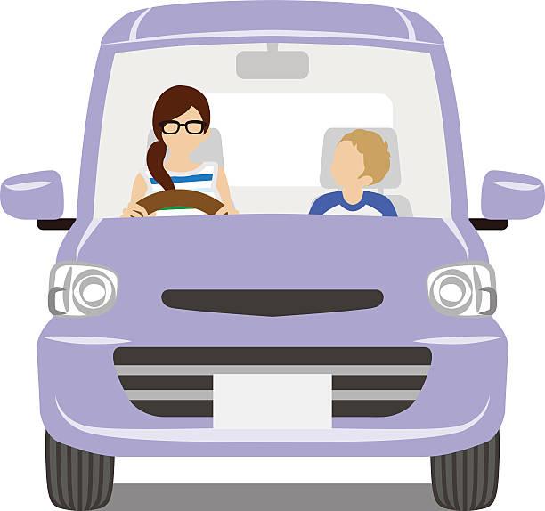 ilustrações, clipart, desenhos animados e ícones de mãe e filho em o roxo car-isolado - carro mulher