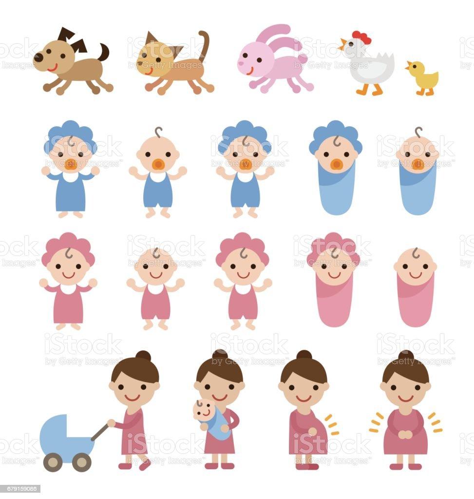 Maman, les bébés et les animaux ensemble illustration maman les bébés et les animaux ensemble illustration – cliparts vectoriels et plus d'images de adulte libre de droits