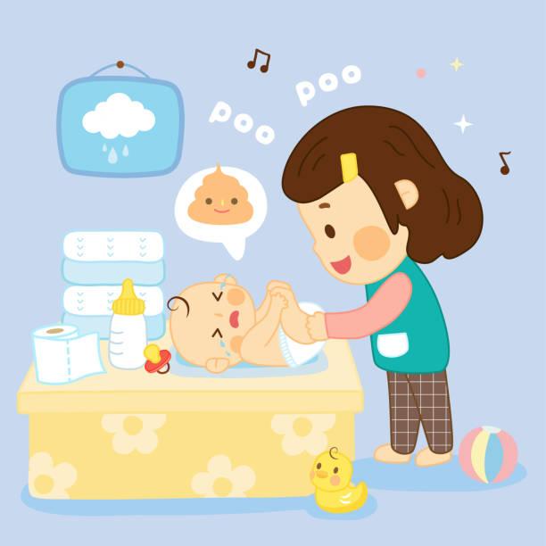 mutter ändern windel im babyzimmer - wickeltisch stock-grafiken, -clipart, -cartoons und -symbole