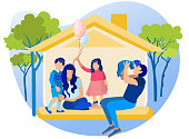 Happy Family in House. Mom, Dad, Daughter and Two Little Sons at Home. Father Kissing Baby Boy, Girl Holding Balloons, Elder Kid Hugging Mother. Faceless Characters. Cartoon Flat Vector Illustration