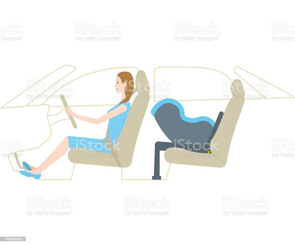 Mom driving with infant car seat(Isofix) vector art illustration