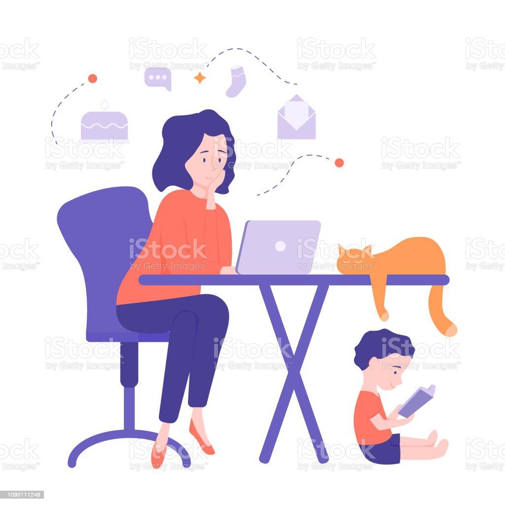 Maman freelance travaille à la maison - Illustration vectorielle