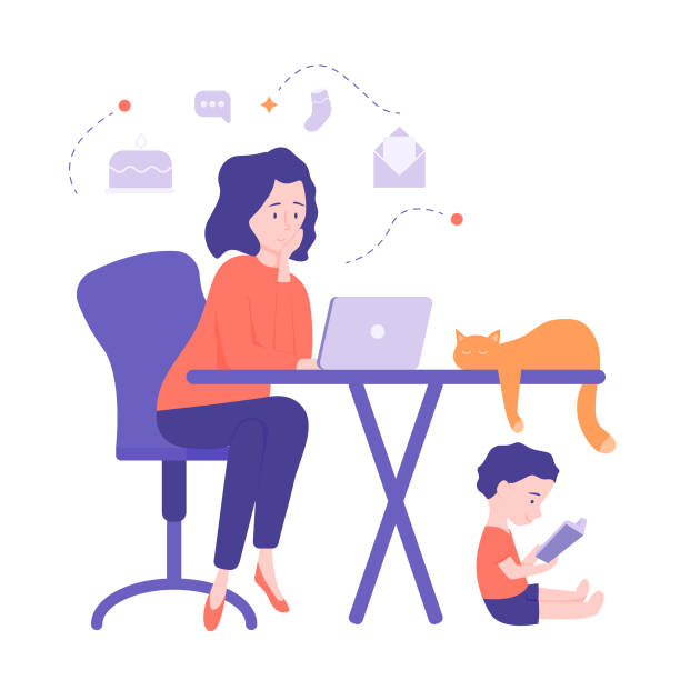 mom freelancer works at home - happy family stock illustrations