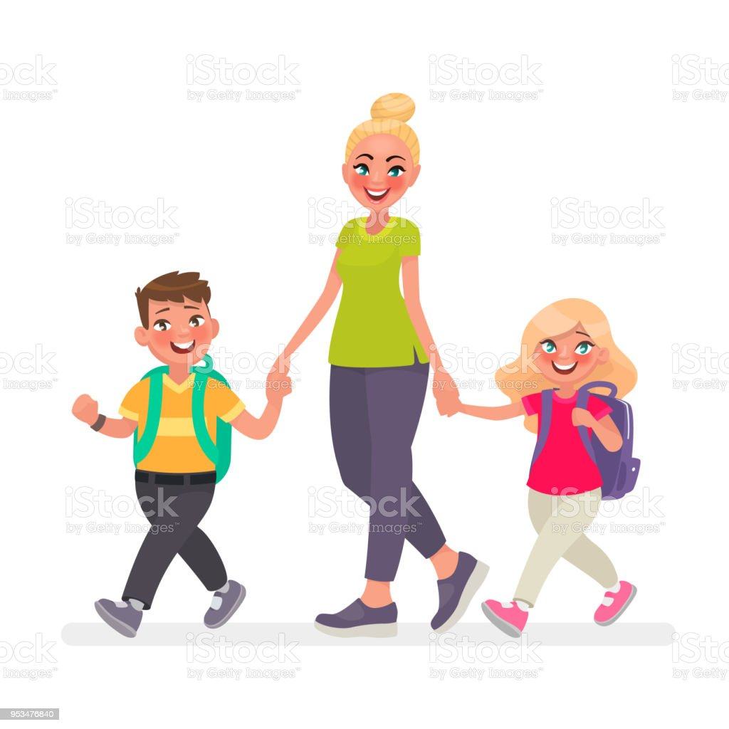Mom goes with the kids to school. Primary school children and mother...