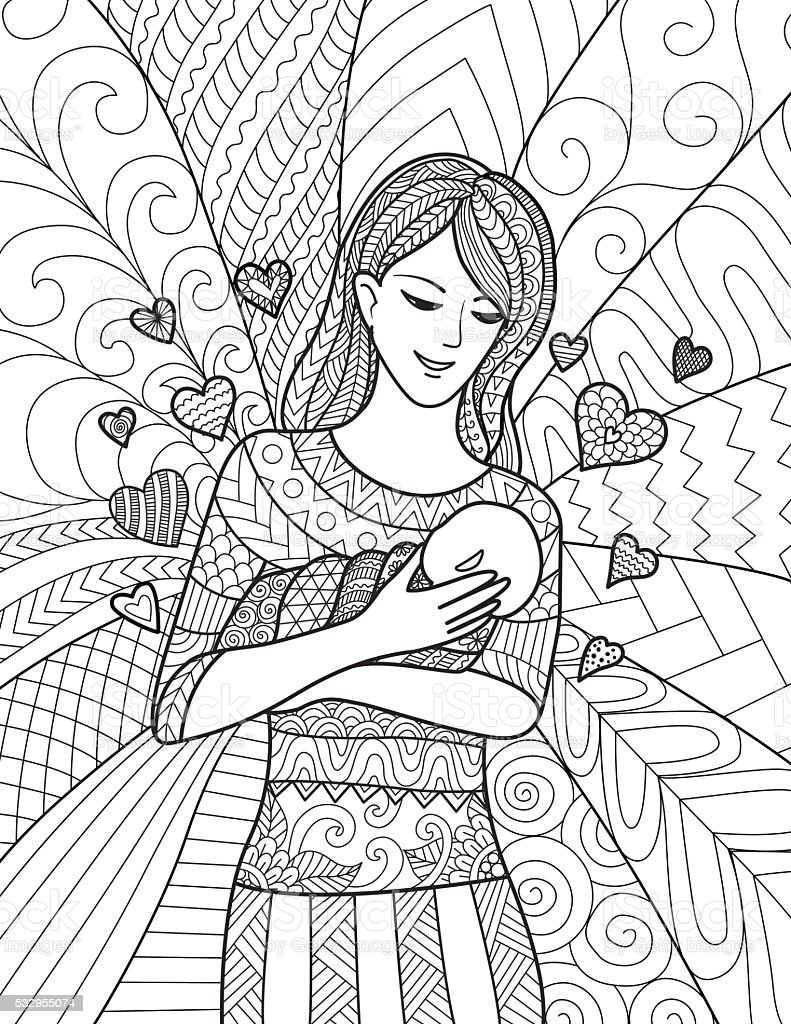 Mom Holding Baby For Adult Coloring Pages Stock Vector Art